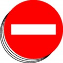 Sens interdit picto bande de 12 étiquettes Ø50mm