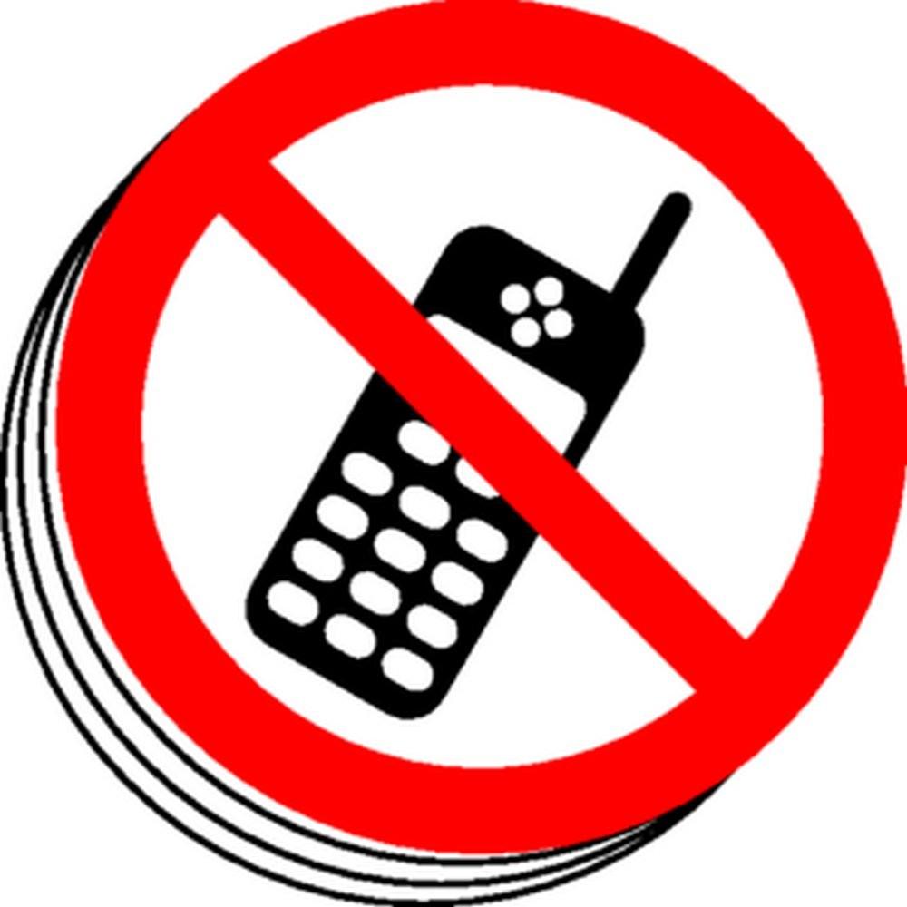 Téléphone interdit picto bande de 12 étiquettes Ø50mm