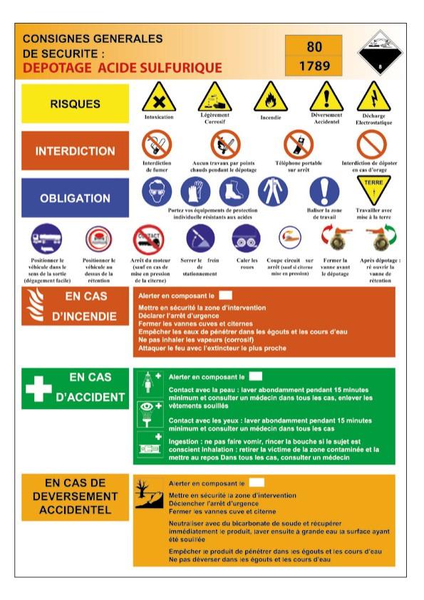 Consigne Dépotage Acide Sulfurique