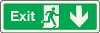 Panneau Exit Arrow Down Photoluminescent
