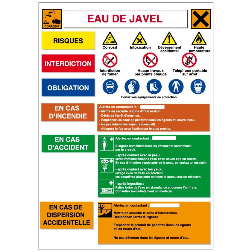 Fiche de sécurité Eau de Javel