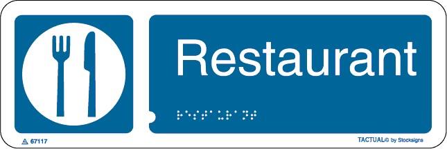 Panneau Restaurant en braille et en relief
