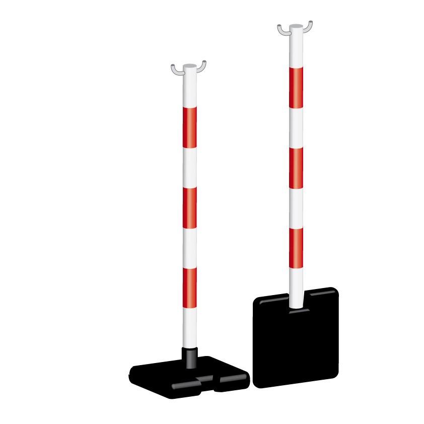 Poteau PVC Rouge/Blanc rabattable
