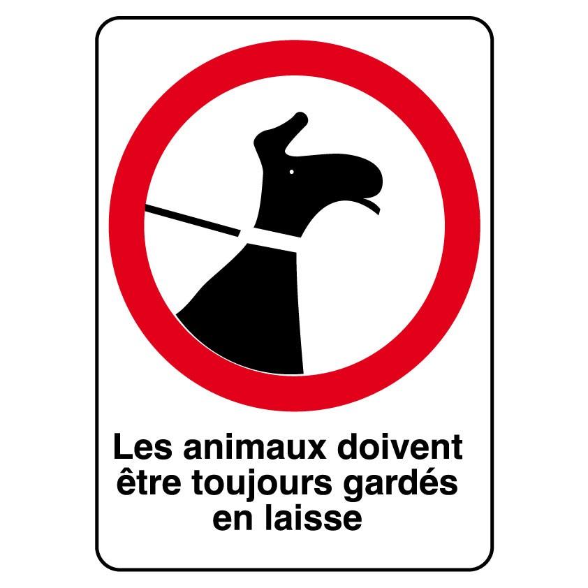 Panneau Les animaux doivent être toujours gardés en laisse