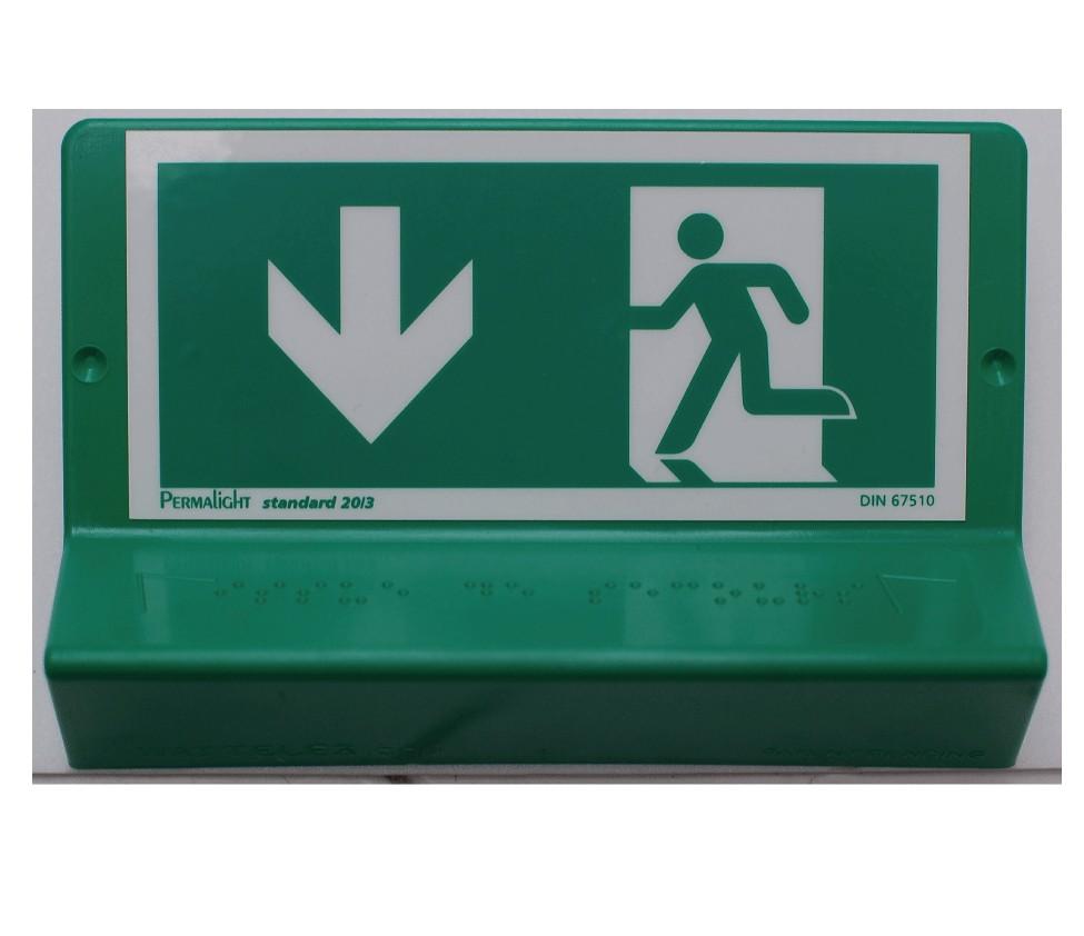 Panneau Evacuation vers le bas à gauche