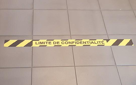 Bande autocollante Limite de confidentialité