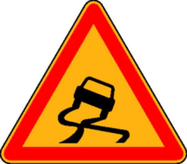 Panneau Chaussée glissante (avec pied) Classe T