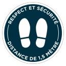 """Rond adhésif  """"Respect et sécurité"""" ø400mm. Plusieurs coloris."""