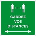 """Carré adhésif """"Gardez vos distances"""" 400x400mm. Plusieurs coloris."""