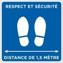 """Carré adhésif """"Respect et sécurité"""" 400x400mm. Plusieurs coloris."""
