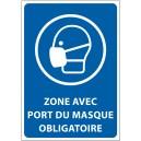"""Panneau """"Zone avec port du masque obligatoire"""""""