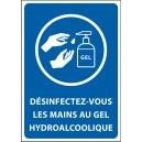 """Panneau """"Désinfectez-vous les mains au gel hydroalcoolique"""""""