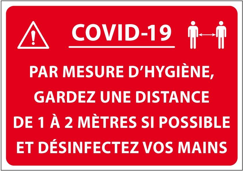 """Panneau """"Covid 19. Gardez une distance..."""""""