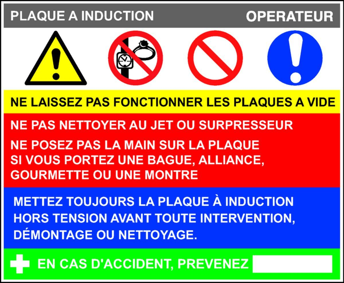 Fiche de poste Plaque à Induction