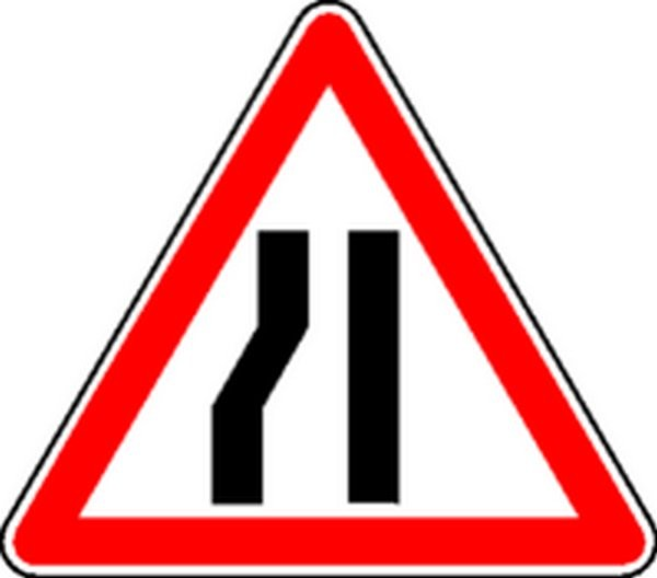 Panneau Chaussée rétrécie à gauche Classe 2