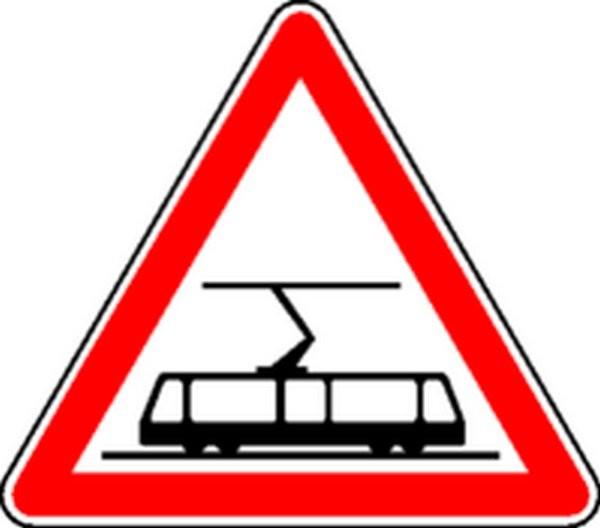 Panneau Traversée de voies de tramway Classe 2