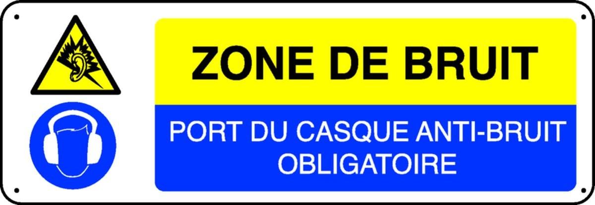 Panneau Zone de bruit Port du casque anti-bruit obligatoire