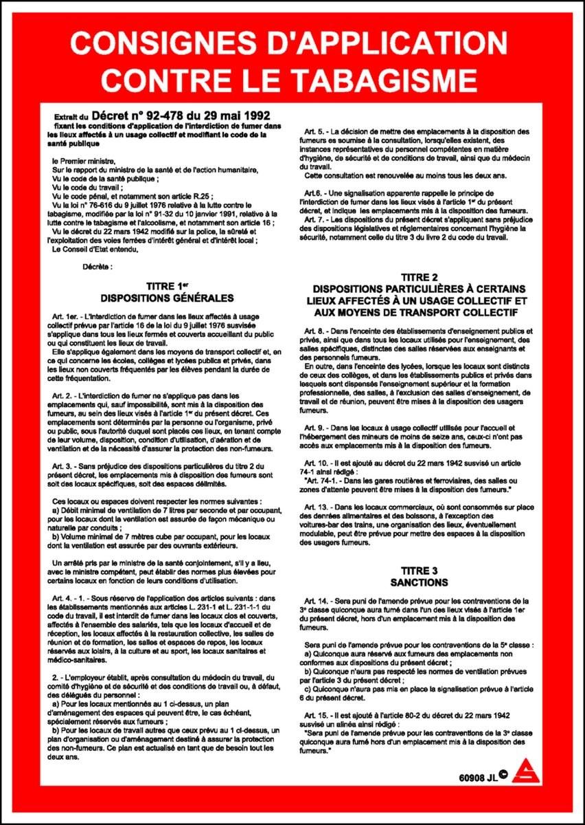 Panneau Consignes d'application contre le tabagisme