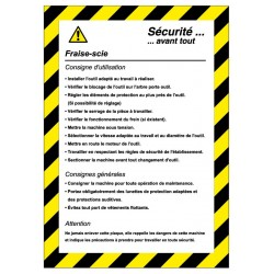 Fiche de sécurité Fraise scie